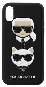 Karl Lagerfeld Karl and Choupette Hard Case pro iPhone X (KLHCPXKICKC) černý