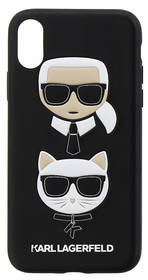 Karl Lagerfeld Karl and Choupette Hard Case pro iPhone X (KLHCPXKICKC) čierny