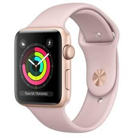 Chytré hodinky Apple Watch Series 3 GPS 38mm pouzdro ze zlatého hliníku - pískově růžový sportovnm řemínek (MQKW2CN/A)