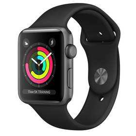 Apple Watch Series 3 GPS 38mm pouzdro z vesmírně šedého hliníku - černý sportovní řemínek (MQKV2CN/A) + Doprava zdarma