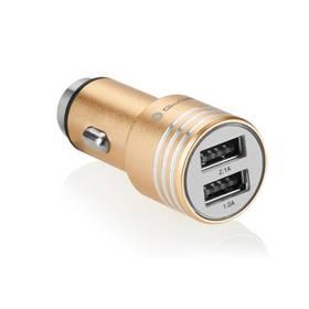 GoGEN kovový bezpečnostní hrot, 2x USB (CHH25G) zlatý