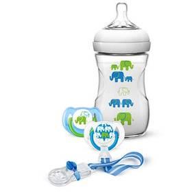 Philips AVENT 260 ml Natural PP + sada dudlík a klip na dudlík, slon modrá/zelená