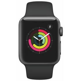 Chytré hodinky Apple Watch Series 3 GPS 38mm pouzdro z vesmírně šedého hliníku - černý sportovní řemínek (MTF02CN/A)
