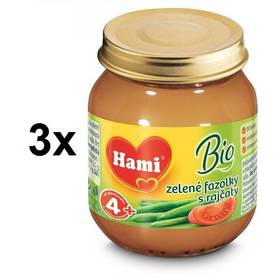 Hami BIO zelené fazolky s rajčaty 4M, 125g x 3ks