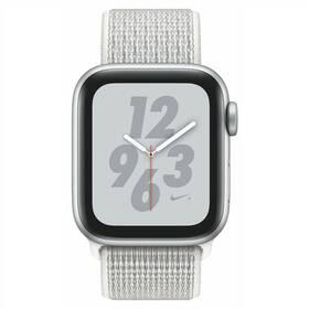 Apple Watch Nike+ Series 4 GPS 40mm pouzdro ze stříbrného hliníku - sněhově bílý provlékací sportovní řemínek Nike SK verze (MU7F2VR/A)