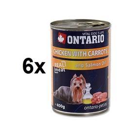 Ontario Adult kuře, karotka a lososový olej 6 x 400g