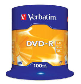 Verbatim DVD-R 4,7GB, 16x, 100-cake (43549)