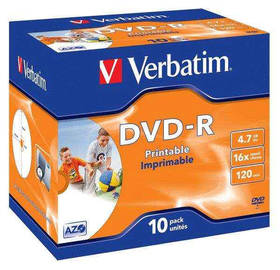 Verbatim DVD-R 4.7GB, 16x, printable, jewel box, 10ks (43521)