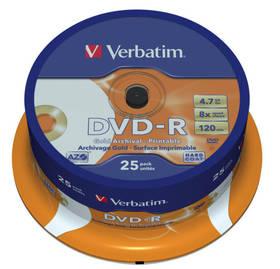 Verbatim DVD-R 4.7GB, 8x, printable, 25-cake (43634) + Doprava zdarma