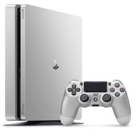 Sony PlayStation 4 SLIM 500GB + DualShock4 (PS719848769) stříbrná