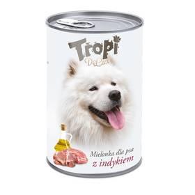 Tropi De Lux Dog kousky v konzervě s příchutí krocana 400g