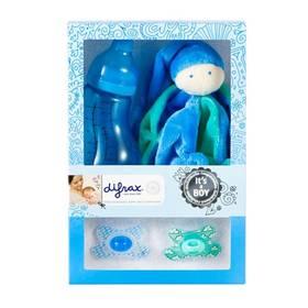 Difrax pro chlapečka (láhev, dudlík 2ks, plyšová hračka) modrá