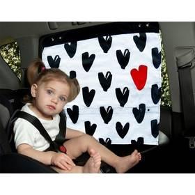 Záclonka do auta Simply Good Hearts - černá/bílá