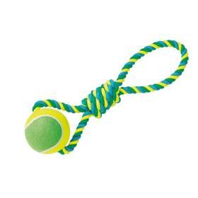 Nobby Rope Toy XXL tenisák 12cm s lanem modré/žlté/zelené