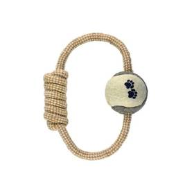 Argi preťahovadlo pre psy kruhové s tenisovou loptičkou - jutové 20 cm