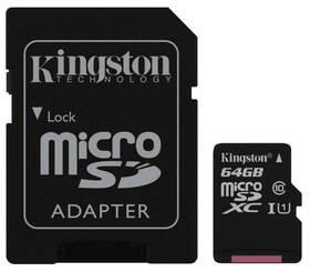 Pamäťová karta Kingston Canvas Select MicroSDXC 64GB UHS-I U1 (80R/10W) + adapter (SDCS/64GB)