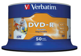 Verbatim DVD-R 4.7GB, 16x, printable, 50-cake (43533)