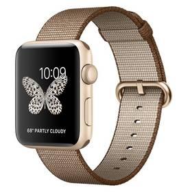 Apple Watch Series 2 42mm pouzdro ze zlatého hliníku – kávově/karamelově hnědý řemínek z tkaného nylonu (MNPP2CN/A) + Doprava zdarma