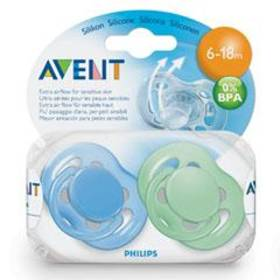 Cumľom AVENT SENSITIVE 6-18m. bez BPA, 2ks modré/zelené