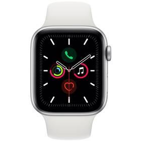 Apple Watch Series 5 GPS 44mm pouzdro ze stříbrného hliníku - bílý sportovní řemínek SK (MWVD2VR/A)