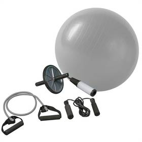 Fitness sada Brother gymball, posil. kolečko, švihadlo, expandér, pumpa - stříbrná barva