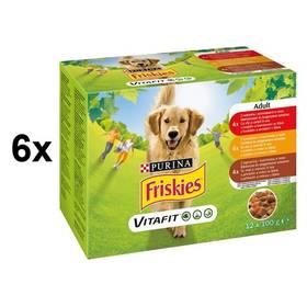 FRISKIES Adult výběr s hovězím, kuřetem a jehněčím ve šťávě 6 x (12 x 100g)