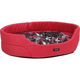Argi pro psa oválný s polštářem - XS červený se vzorem
