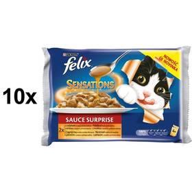 Felix Sensations Sauce Surprise s krůtou ve slaninové omáčce a jehněčí se zvěřinou 10 x (4 x 100g)