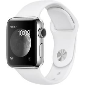 Apple Watch Series 2 38mm pouzdro z nerezové oceli – bílý sportovní řemínek (MNP42CN/A) + Doprava zdarma