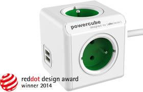 Powercube Extended USB, 3x zásuvka, 2x USB, 1,5m zelená