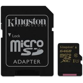 Paměťová karta Kingston MicroSDXC 64GB UHS-I U1 (90R/45W) + adapter (SDCA10/64GB)