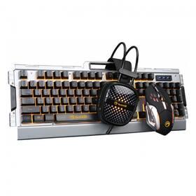 Marvo CM303, klávesnice, myš, headset, US (CM303 EN) černá/stříbrná