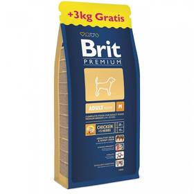 Granule Brit Premium Dog Adult M 15 + 3 kg ZDARMA