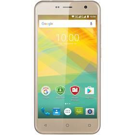 Prestigio Muze B3 Dual SIM (PSP3512DUOGOLD) zlatý SIM s kreditem T-Mobile 200Kč Twist Online Internet (zdarma)