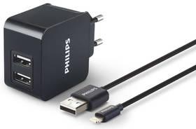 Philips DLP2307V, 2x USB, 3,1A + Lightning kabel (Phil-DLP2307V/12) černá