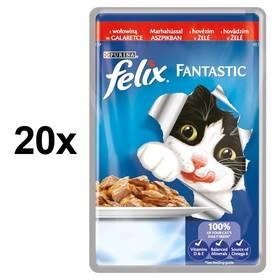 Felix Fantastic s hovězím v želé 20 x 100g