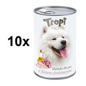 Tropi De Lux Dog kousky v konzervě s příchutí kuřecího filetu 10 x 400 g