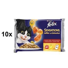 Kapsička Felix Sensations s hovězím a želé s rajčaty, kuřetem a želé s mrkví 10 x (4 x 100g)