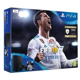 Sony PlayStation 4 SLIM 1TB + FIFA18 + PS Plus 14 dní (PS719913269) černá