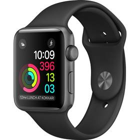 Apple Watch Series 2 38mm Pouzdro z vesmírně šedého hliníku – černý sportovní řemínek (MP0D2CN/A) + Doprava zdarma