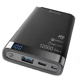 CellularLine Freepower Manta Pro+ 12000mAh, QC 3.0, USB-C (FREEPMANTA12QCCPDK) černá