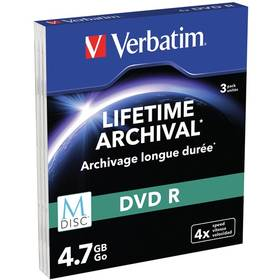 Verbatim DVD-R M-Disc 4,7GB, 4x, printable, slim box, 3ks (43826)