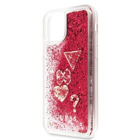 Guess Glitter Hearts na Apple iPhone 11 Pro Max (GUHCN65GLHFLR) červený (vrácené zboží 8800916524)