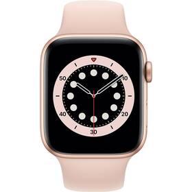 Apple Watch Series 6 GPS 44mm pouzdro ze zlatého hliníku - pískově růžový sportovní náramek (M00E3VR/A)
