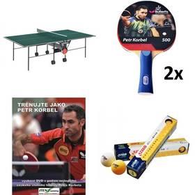 Set stůl Butterfly Korbel Roller se síťkou zelený, vnitřní + 2x pingpongová pálka Petr Korbel 500 + pingpongové míčky YOUTH, bílé + naučné DVD Trénuj jako Petr Korbel + Doprava zdarma