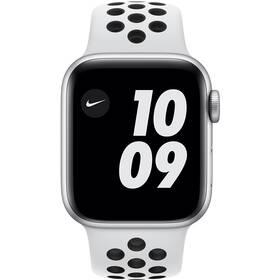 Apple Watch Nike SE GPS 44mm pouzdro ze stříbrného hliníku - platinový/černý sportovní náramek Nike (MYYH2HC/A)