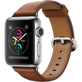Apple Watch Series 2 38 mm pouzdro z nerezové oceli – sedlově hnědý řemínek s klasickou přezkou (MNP72CN/A) + Doprava zdarma