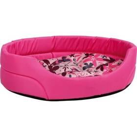 Argi pro psa oválný s polštářem L se vzorem růžový + Doprava zdarma