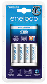 Panasonic Eneloop Basic Charger pro AA, AAA + 4x Panasonic Eneloop 1900mAh (K-KJ51MCC40E ) biela
