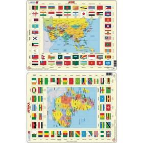 Larsen Mapa Asie a Afriky + vlajky 2ks